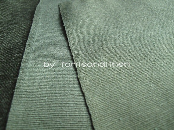 Silk Fabric Ribbed Silk Noil Satin Fabric Sage Green Half