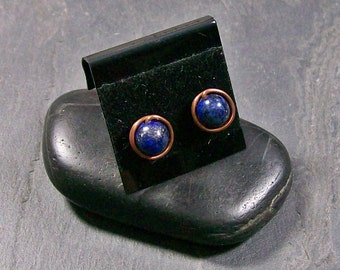 Lapis Lazuli & Copper Stud Earrings