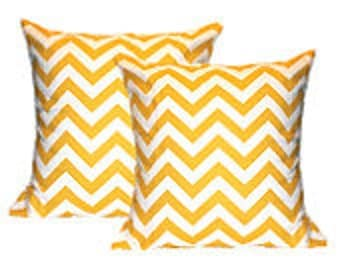 "Pillow Cover Cushion 16x16"" yellow zig zag chevron"