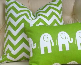 Pillow Cover Cushion  20x20  Chartreuse green Elephants kids nursery