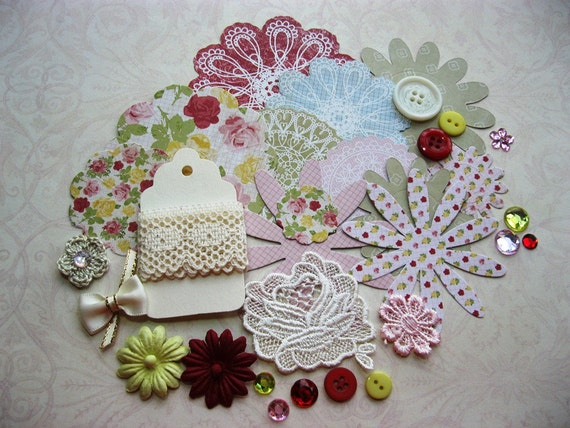 Inspiration Kit Red Pink Yellow and Ivory for Scrapbooking Cards Mini Albums and Papercrafts