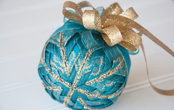 Teal and Gold Quilted Christmas Ornament Ball - Teal Luster