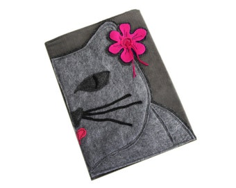 Composition book cover aloha cat gray by tratgirl