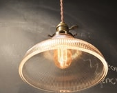 Vintage Industrial Holophane Shaded Pendant Lamp - Hanging Light with Ribbed Glass Shade