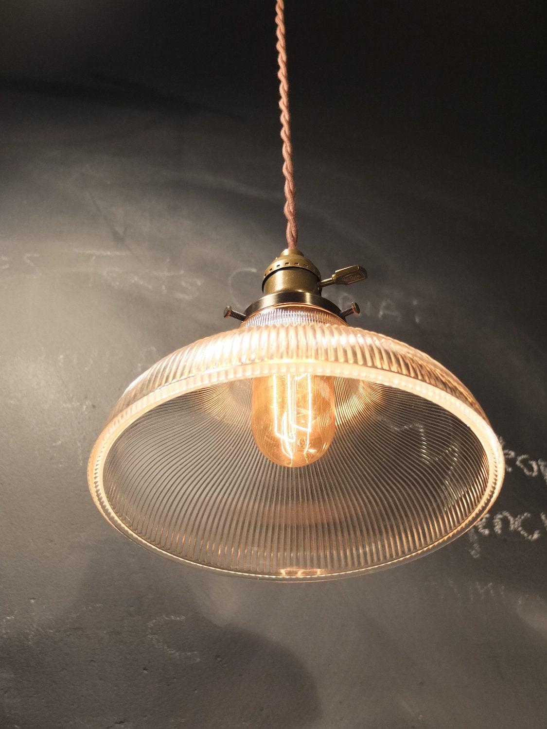 Vintage Industrial Holophane Shaded Pendant Lamp  Hanging Light With  Ribbed Glass Shade