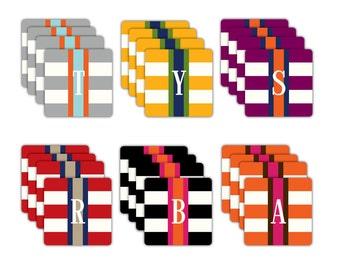 PREPPY STRIPE coasters with monogram - set of 4
