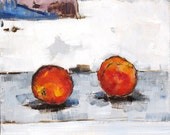 Peaches Painting- Kitchen Art Still Life With Fruit