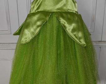 Tinkerbell Halloween Costume Dress Fairy Green Glitter Boutique Size 2T 3T 4T 5 6