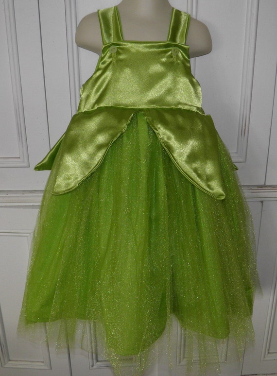 Tinkerbell Halloween Costume Dress Fairy Green Glitter Boutique Size 2T 3T 4T 5 6