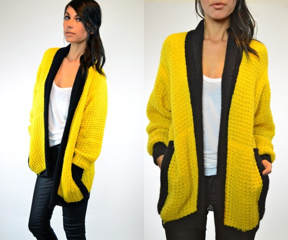 reserved--knitted YELLOW JACKET slouchy boyfriend sweater CARDIGAN, extra small-small