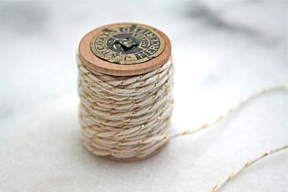 Bakers twine, gold and white.  Twinery baker's twine in Gold Shimmer.  10 yds on a vintage spool.