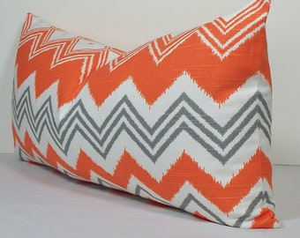 Decorative pillow cover- IKAT Chevron pillow -BOTH SIDES - throw pillow - lumbar pillow -Orange and Gray