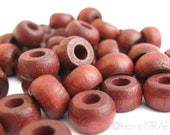 Wood Beads, Mahogany Hemp Macrame Beads, Wood Crow Beads 6x10mm - Large Hole Beads - 50pc