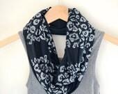 Leopard Infinity Scarf - Chunky Animal Print Scarf - Little Minnow Scarves - Black