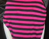 "Strech Rayon Jersey Knit Fabric Eco-Friendly Yarn Dyed Stripes 1"" Bright pink/ Black"
