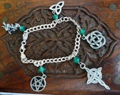 Goddess Mystic // Sterling Silver bracelet with celtic themed 3D charms swaroski crystals
