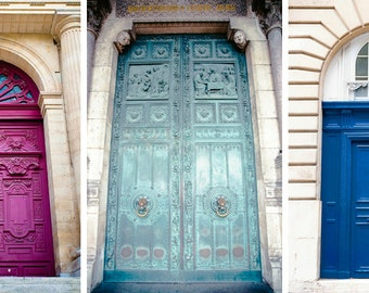 Paris Prints - Set of 3 - French Door Art - Fine art travel photography - Classic Vintage beauty - Home decor, Corporate art