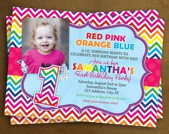Rainbow 1st Birthday Invitations, Chevron Rainbow invites with picture, photo invitation, printed invites, set of 10 with envelopes