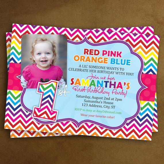 Rainbow 1st Birthday Invitation Photo Invitation Rainbow