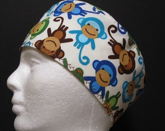 Scrub Hat, Surgical Skull Cap, Chemo Hat Smiling Monkeys