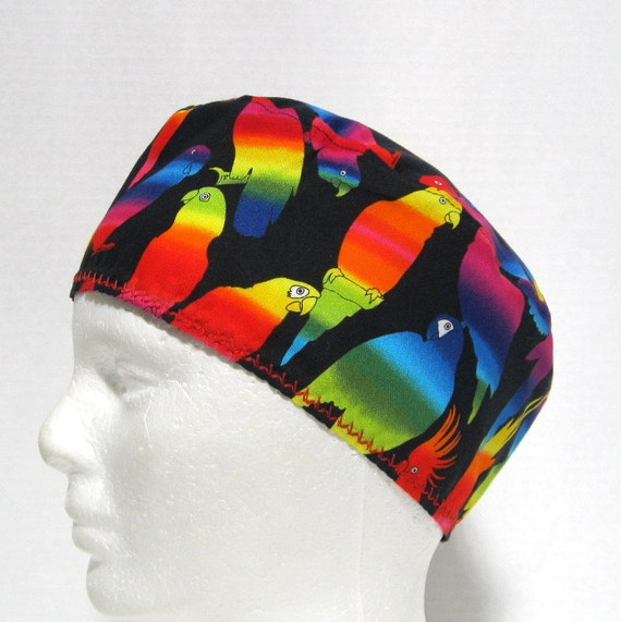 Unisex or Mens Scrub Hat with Colorful Parrots