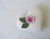 Hand knitted heart ornament, decoration, door knob hanger, hostess gift