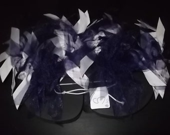 Purple Plaid Ribbon Flip Flops