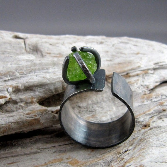 Raw Peridot Sterling Silver Ring