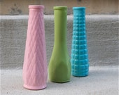Painted Vases - Pastel Shades - Collection of 3