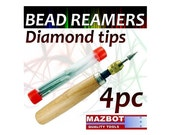 Mazbot 4pc Pro Diamond Reamers Set Wood Handle Bead Pearl Jewelry Beading DBR4