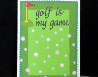 SALE - Golf Balls Blank Greeting Card - Sports, Golf is My Game, Flag, Athletic, Lime Green, White, Black, Red, Yellow, All Occasion
