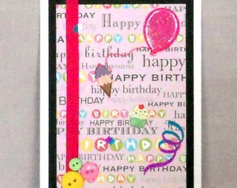 Happy Birthday on Pink Blank Greeting Card - Cupcake, Ice Cream Cone, Balloons, Black, Blue, Purple, Green, Yellow, White
