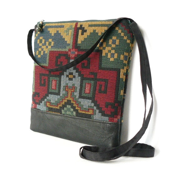 Crossbody Bag, Fabric Hip Bag, Pouch Purse - Mesa Tapestry in Black, Red and Green