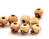 8Pcs Ox Bone Carved Skull Beads Finding  ja525