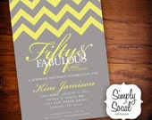 50th Birthday Party Invitation with Chevron Grey and Yellow