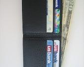 Black Leather Men's Bi-Fold Wallet