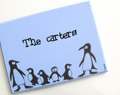 Personalized Door sign- The Penguins family - kids door sign, children sign,  family sign, front door sign, couple sign