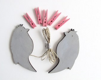 kids art display hanger- Two grey Birds- kids wall art, birds wall art - grey and pink, kids photos display