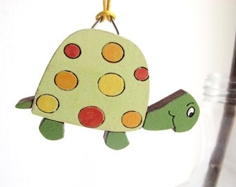 Christmas Ornament - Green turtle kids holiday decor, wooden holiday decor, Christmas gift for boys and girls, children decor