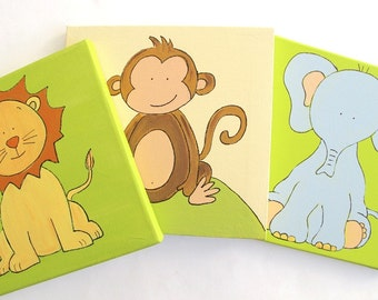 Kids wall art- 3 paintings- Jungle bunch- elephant, lion and monkey- green and cream wall decor on canvas, children decor