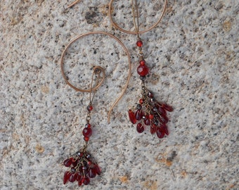 Blood Red Tears Bloody Cascade of Ruby Red Crystals With Large Dramatic Handmade Spiral Bronze Hooks