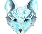 WINTER DISCOUNT - Blue Fox Face animal face drawing print, size 8x10 (No. 13)