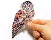 Lacy Owl bird sticker, // SALE 3 for 2 // 100% waterproof vinyl label.