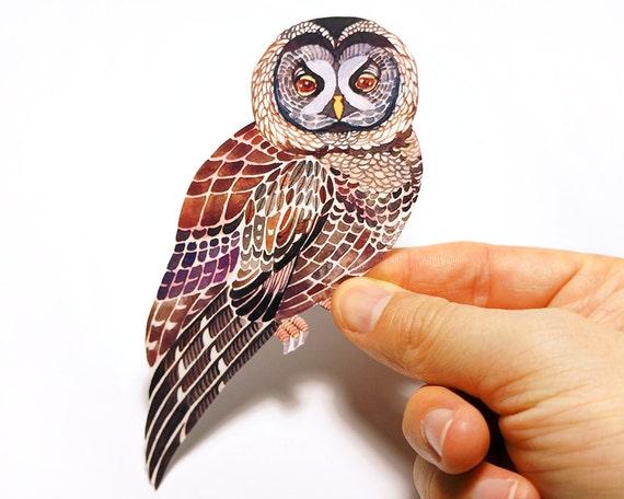 Lacy Owl bird sticker, // SALE 3 for 2 // 100% waterproof vinyl label.