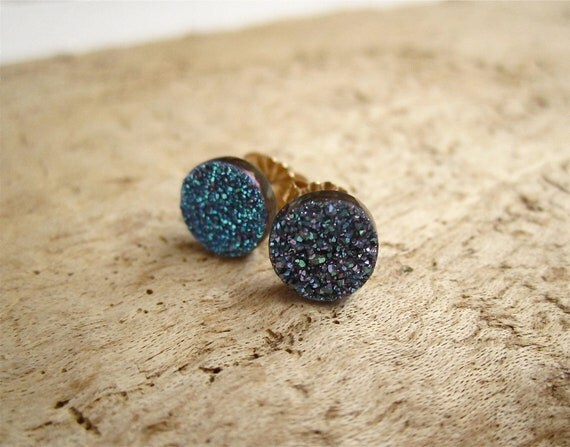 Blue Druzy Earrings Drusy Quartz Studs 14K Gold Fill