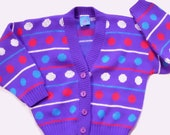 Vintage Ugly Kids Sweater - Polka Dot - Cardigan - Girls 5/6 - Purple Polka Dot Party