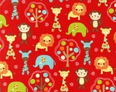 Red Zoo Babies - Cotton Quilting Fabric - 46 inches
