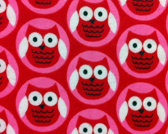 Owl Circles - Red - Cotton FLANNEL Fabric
