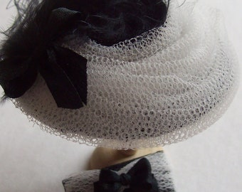 Pretty 1/12 scale handmade dollshouse miniature black silk and  white net hat and matching bag