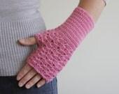 Fingerless Gloves for women, Pink crochet mitten, crochet wrist warmer, Ladies crochet glove